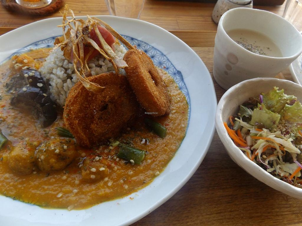 "Photo of Magokoro  by <a href=""/members/profile/Gally"">Gally</a> <br/>Curry rice plate w/ side salad and soup <br/> July 19, 2015  - <a href='/contact/abuse/image/24236/109964'>Report</a>"