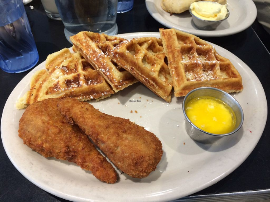 "Photo of Champs Diner  by <a href=""/members/profile/veggiehobbit"">veggiehobbit</a> <br/>chick'n and waffles! <br/> July 18, 2016  - <a href='/contact/abuse/image/24286/160744'>Report</a>"