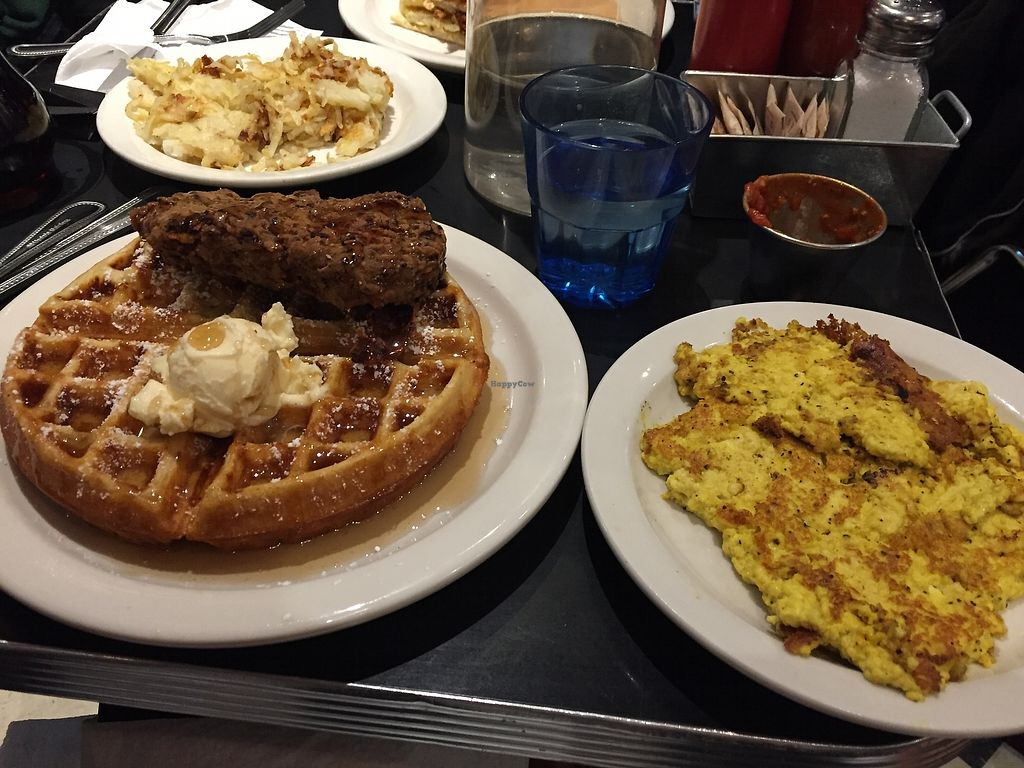 "Photo of Champs Diner  by <a href=""/members/profile/NickiPT"">NickiPT</a> <br/>Chicken and waffles and tofu scramble <br/> January 2, 2018  - <a href='/contact/abuse/image/24286/342073'>Report</a>"