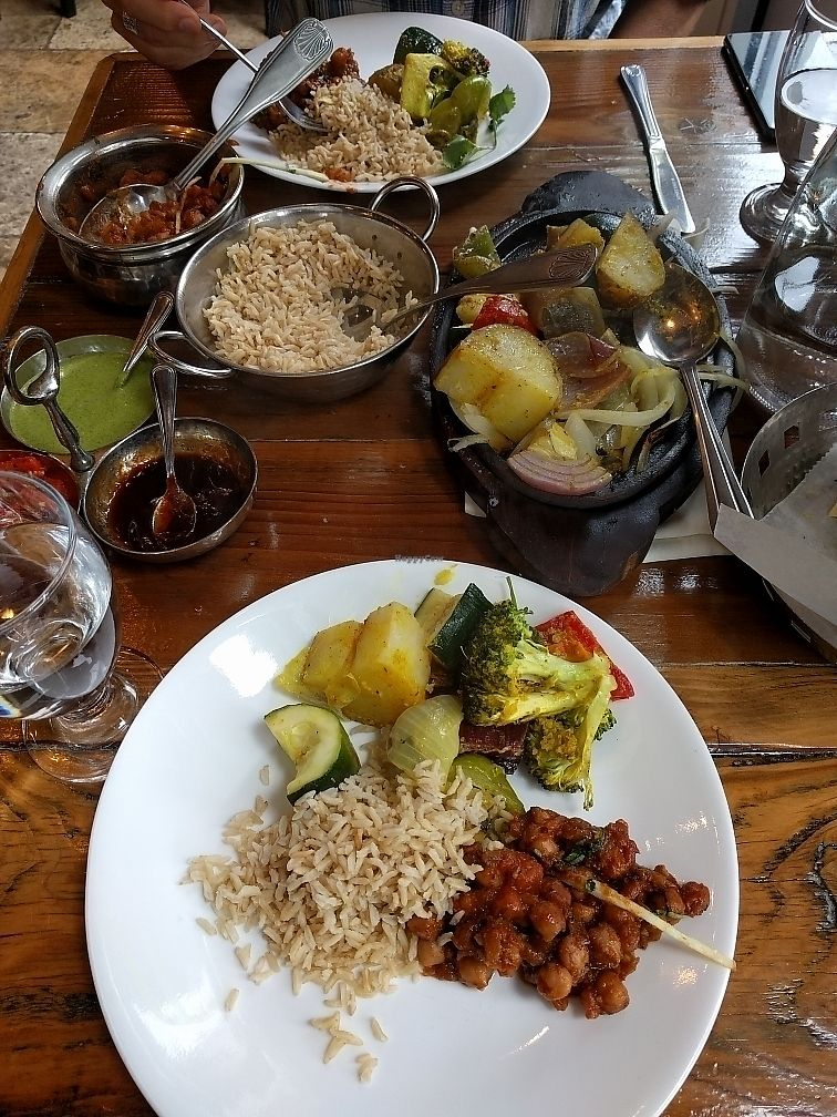 "Photo of Ambrosia India Bistro  by <a href=""/members/profile/plantpig"">plantpig</a> <br/>Tandoori vegetables, chana masala, brown basmati rice <br/> July 1, 2017  - <a href='/contact/abuse/image/24287/275765'>Report</a>"