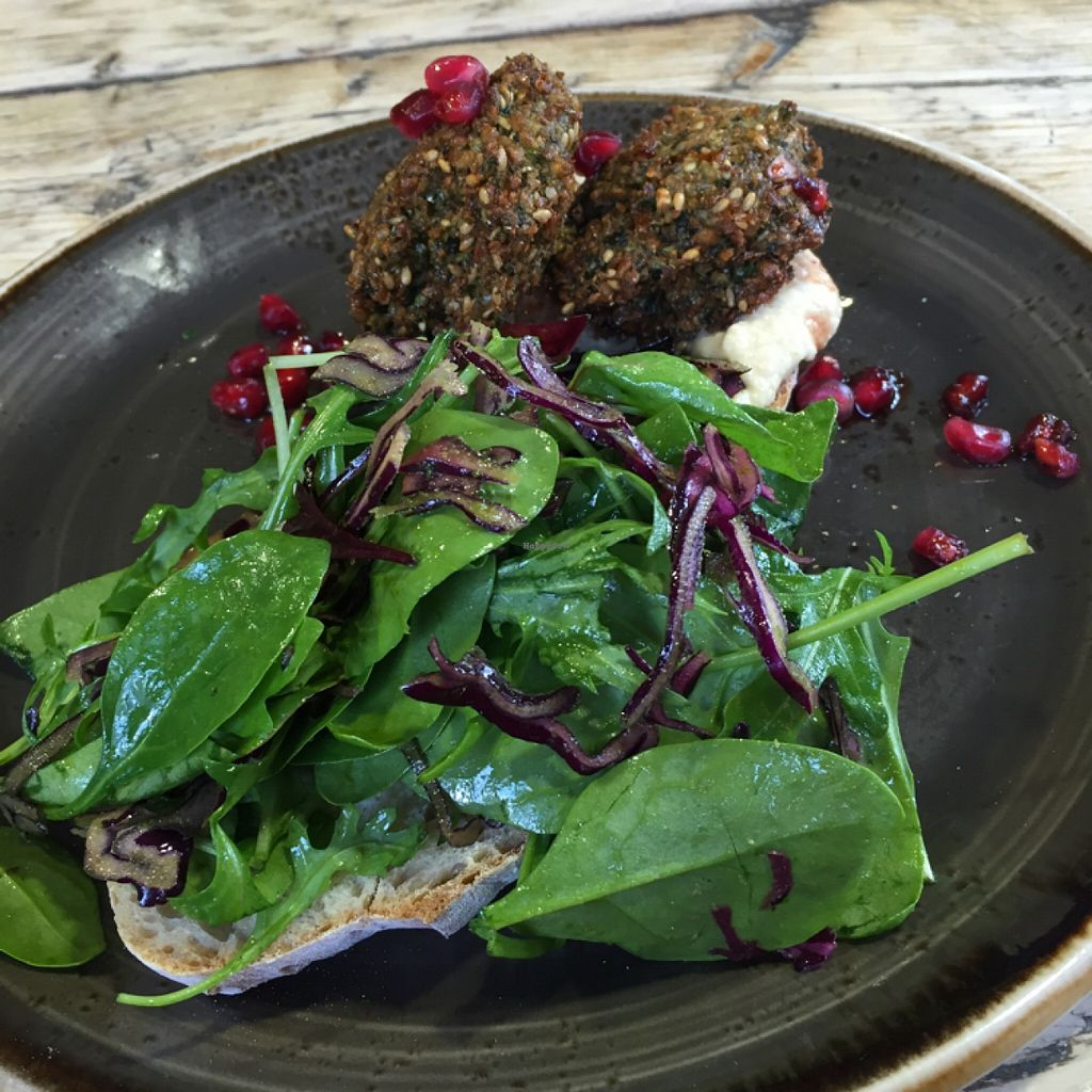 "Photo of Cafe in the Park  by <a href=""/members/profile/Jo%20Kay"">Jo Kay</a> <br/>Falafel open sandwich on sour dough with houmous and mixed leaves. (it comes with harissa which I didn't have as its not vegan) <br/> March 18, 2016  - <a href='/contact/abuse/image/24318/140365'>Report</a>"
