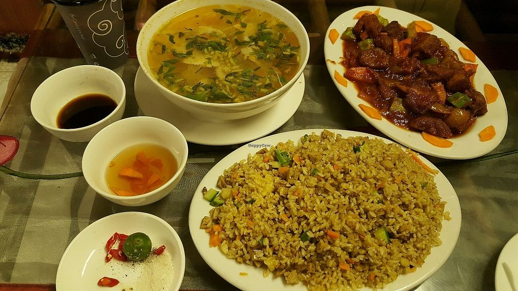 """Photo of Khai Tuong  by <a href=""""/members/profile/Trambau"""">Trambau</a> <br/>Fried rice, sweet and sour veg ribs, sour soup Sai Gon style <br/> April 11, 2018  - <a href='/contact/abuse/image/24338/383813'>Report</a>"""
