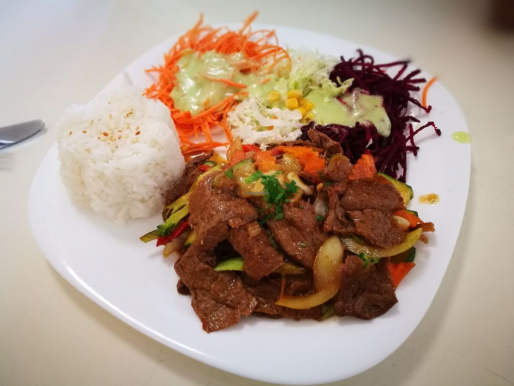 "Photo of Loving Hut - Jana Pawla - temporarily closed  by <a href=""/members/profile/k-girl80"">k-girl80</a> <br/>faux beef dish with side order of rice and salad <br/> October 12, 2017  - <a href='/contact/abuse/image/24424/314506'>Report</a>"