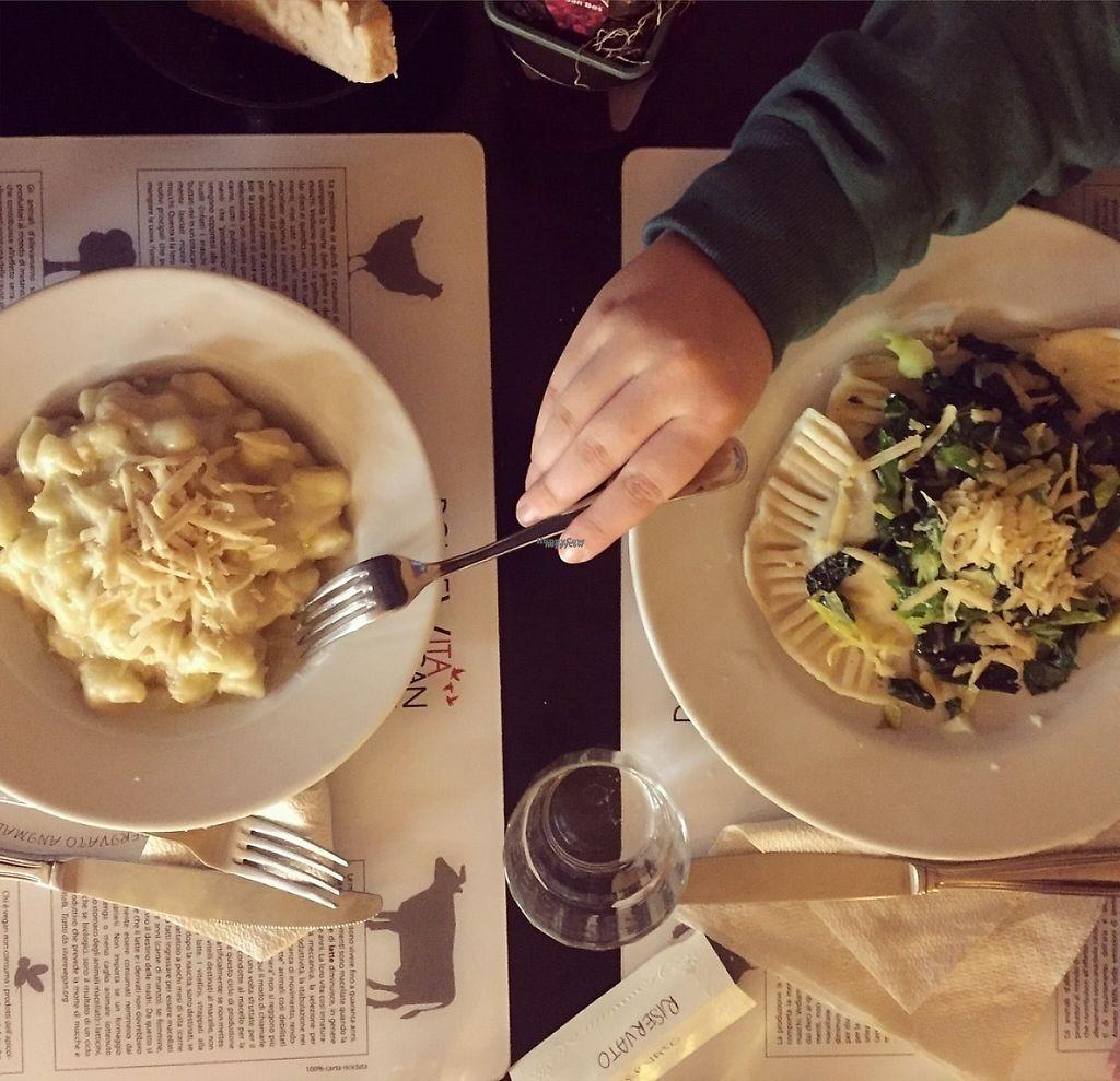 "Photo of Dolce Vegan  by <a href=""/members/profile/CiriGiada"">CiriGiada</a> <br/>Cheesy gnocchi and vegetable ravioli <br/> November 9, 2016  - <a href='/contact/abuse/image/24464/187808'>Report</a>"