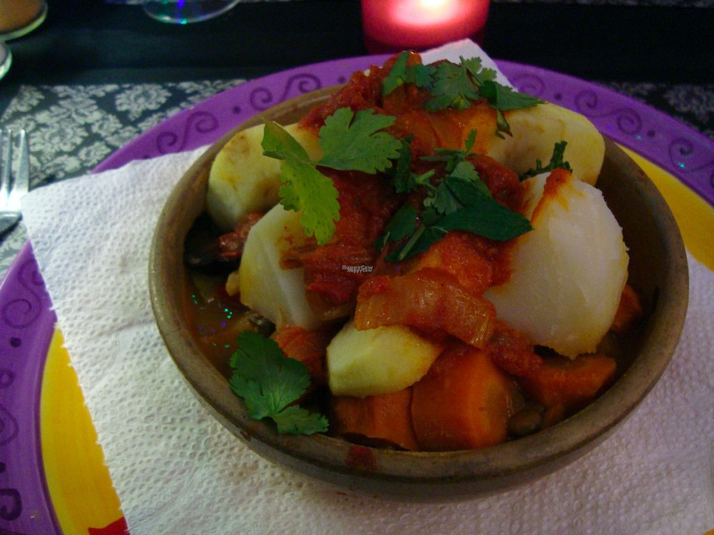 "Photo of Passion for Food  by <a href=""/members/profile/Ninaeace"">Ninaeace</a> <br/>Vegetable tajine with (if remembered correctly) aubergine, potato, parsnip, stewed pear, potato, carrots, tomato, with wheat and lentils on the bottom <br/> August 1, 2016  - <a href='/contact/abuse/image/24465/164302'>Report</a>"