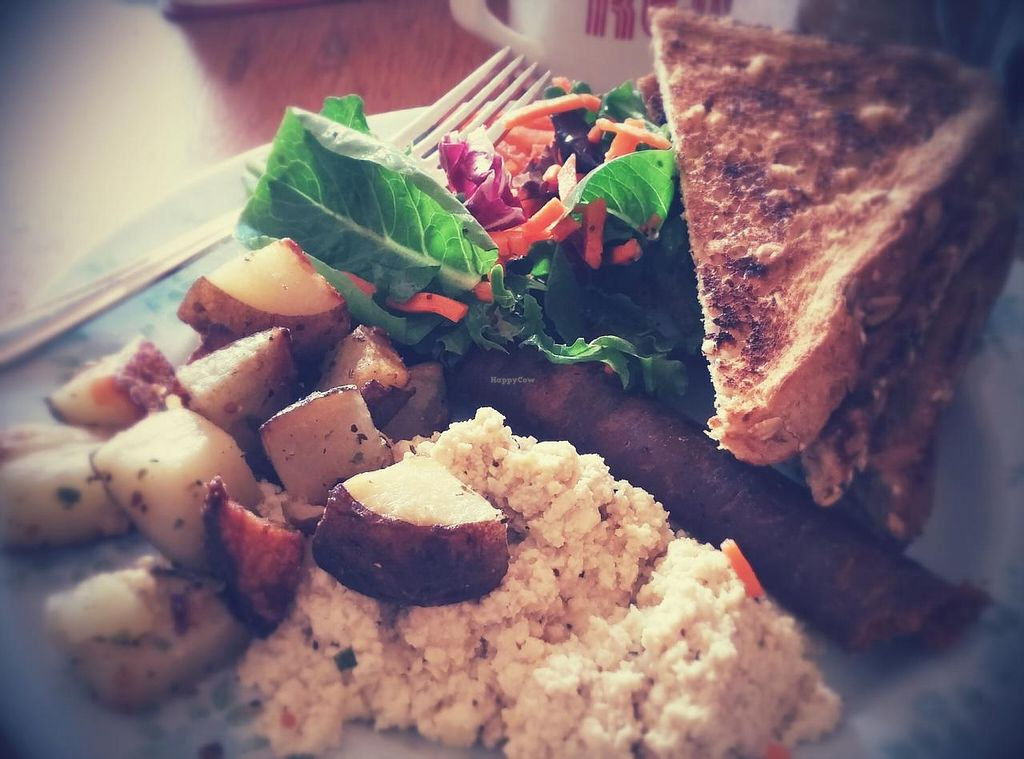 """Photo of The Wallflower Modern Diner  by <a href=""""/members/profile/elizabet"""">elizabet</a> <br/>Simple breakfast made vegan ( tofu scramble, vegan sausage, dry toast) <br/> July 23, 2015  - <a href='/contact/abuse/image/24494/110608'>Report</a>"""