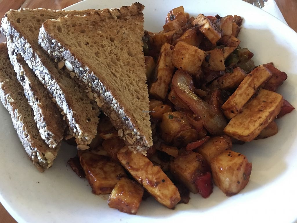 """Photo of The Wallflower Modern Diner  by <a href=""""/members/profile/bripattt"""">bripattt</a> <br/>BBQ Tofu + Potatoes <br/> December 31, 2017  - <a href='/contact/abuse/image/24494/341128'>Report</a>"""