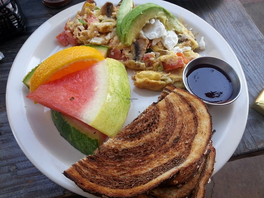 """Photo of Gypsy Den  by <a href=""""/members/profile/CTerrwyn"""">CTerrwyn</a> <br/>Goat cheese scramble with toast and fruit <br/> August 31, 2015  - <a href='/contact/abuse/image/24536/115975'>Report</a>"""