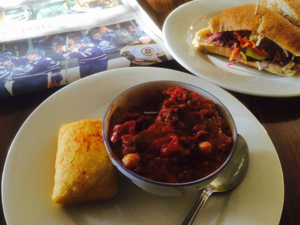 """Photo of 13th Ave Coffee House  by <a href=""""/members/profile/JeffBatchelor"""">JeffBatchelor</a> <br/>Delicious Vegetarian Chili and Vegetarian Cathedral Burger <br/> November 13, 2014  - <a href='/contact/abuse/image/24576/85479'>Report</a>"""