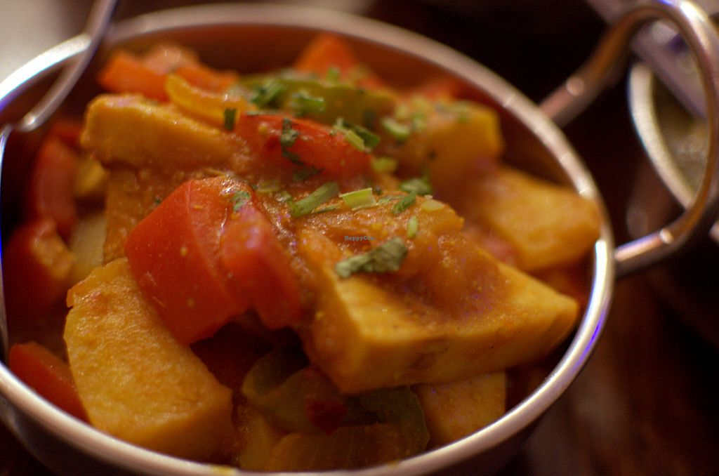 """Photo of Sampoorna Vegetarian Surprise  by <a href=""""/members/profile/chocoholicPhilosophe"""">chocoholicPhilosophe</a> <br/>Kathal do Piaza (Stir-fried young jackfruit with potato, onion and capsicum) <br/> August 15, 2015  - <a href='/contact/abuse/image/24582/113717'>Report</a>"""
