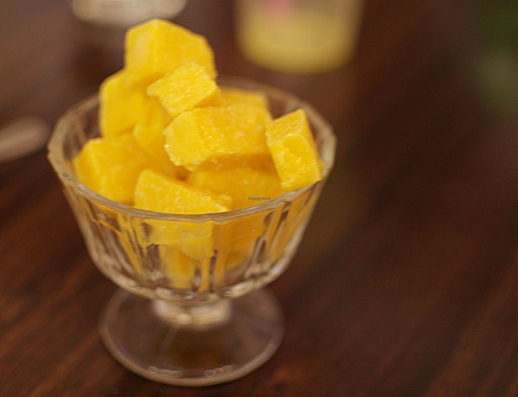 """Photo of Sampoorna Vegetarian Surprise  by <a href=""""/members/profile/chocoholicPhilosophe"""">chocoholicPhilosophe</a> <br/>Mango coconut ice (vegan) <br/> August 15, 2015  - <a href='/contact/abuse/image/24582/113723'>Report</a>"""