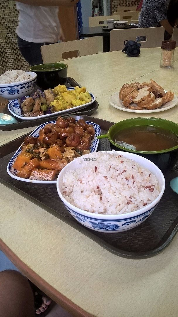 """Photo of Delicious Vegetarian  by <a href=""""/members/profile/konsash"""">konsash</a> <br/>As I remember, for around 40 HKD/person you get bowl of rice, soup of the day and two options from the buffet on a plate. Mock meats should be purchased separately: plate out of trays costs around 25 HKD. Prices as of 12 June 2016 <br/> October 7, 2016  - <a href='/contact/abuse/image/24592/180174'>Report</a>"""