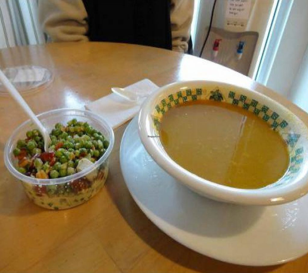 """Photo of Freshlife  by <a href=""""/members/profile/PennsyltuckyVeggie"""" class=""""title__title"""">PennsyltuckyVeggie</a> <br/>Deli items, eaten in, Pea & Almond salad, Curry Lentil Soup <br/> January 3, 2012  - <a href='/contact/abuse/image/2464/205592'>Report</a>"""