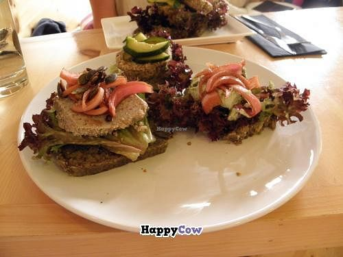 "Photo of CLOSED: simpleRaw - Oehlenschlaegersgade  by <a href=""/members/profile/Littlething"">Littlething</a> <br/>Smorrebrod Plate with three types of smorrebrod(left-right):