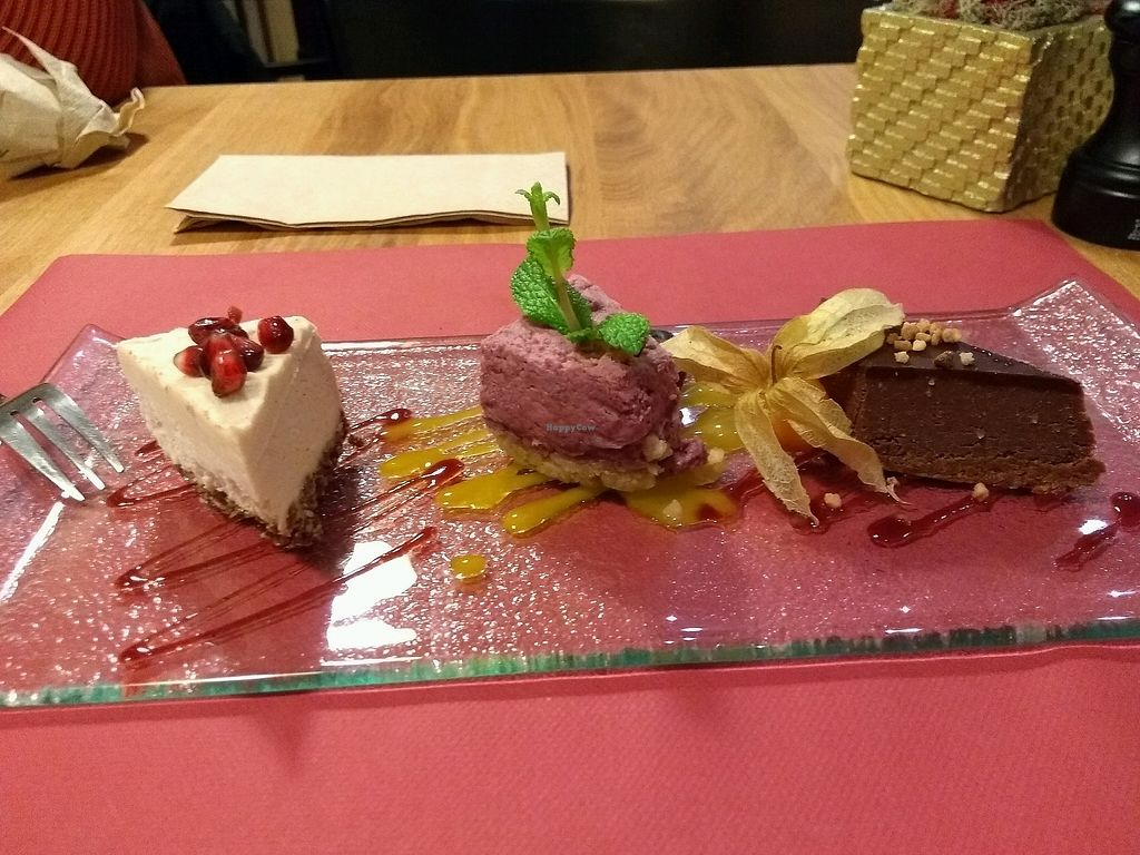 """Photo of Loving Hut  by <a href=""""/members/profile/JanVissers"""">JanVissers</a> <br/>trio of cheese cake <br/> December 6, 2017  - <a href='/contact/abuse/image/24730/332820'>Report</a>"""