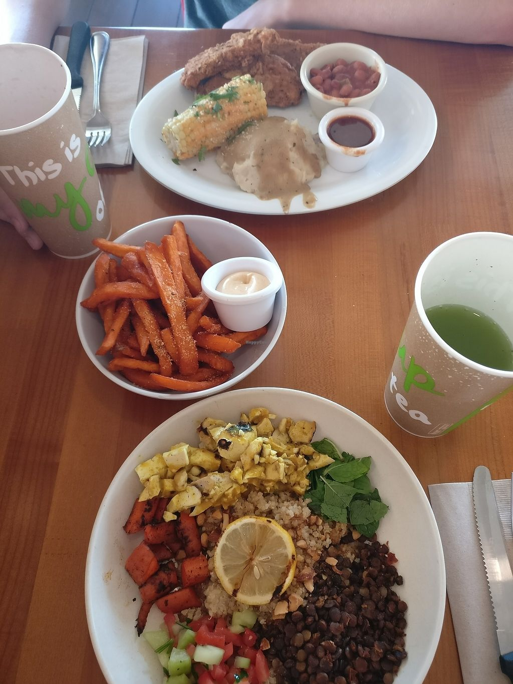 """Photo of Veggie Grill  by <a href=""""/members/profile/orangepawy"""">orangepawy</a> <br/>Backyard Spicy Fried 'Chicken', Sweat Potato Fries, Maroccon Bowl, Cucumber-Mint Lemonade and Strawberry Lemonade <br/> August 9, 2017  - <a href='/contact/abuse/image/24737/290625'>Report</a>"""