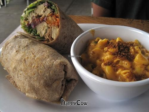 """Photo of Veggie Grill  by <a href=""""/members/profile/FoodAndLoathing"""">FoodAndLoathing</a> <br/>Thai Chickin' Wrap with side of mac and cheese <br/> March 27, 2013  - <a href='/contact/abuse/image/24737/46074'>Report</a>"""