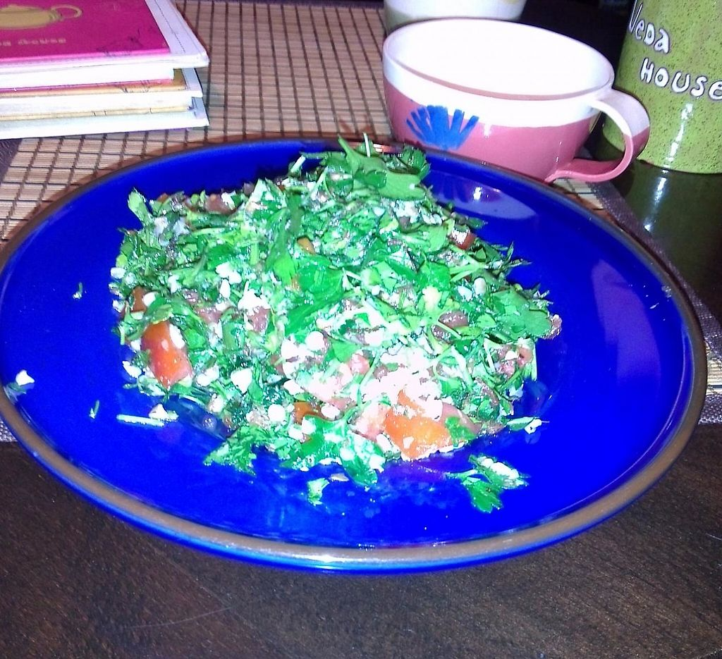 "Photo of Veda House - Sofia  by <a href=""/members/profile/Ryecatcher"">Ryecatcher</a> <br/>Tabbouleh - An Arabic parsley salad with tomatoes lemon <br/> May 3, 2015  - <a href='/contact/abuse/image/24759/235601'>Report</a>"