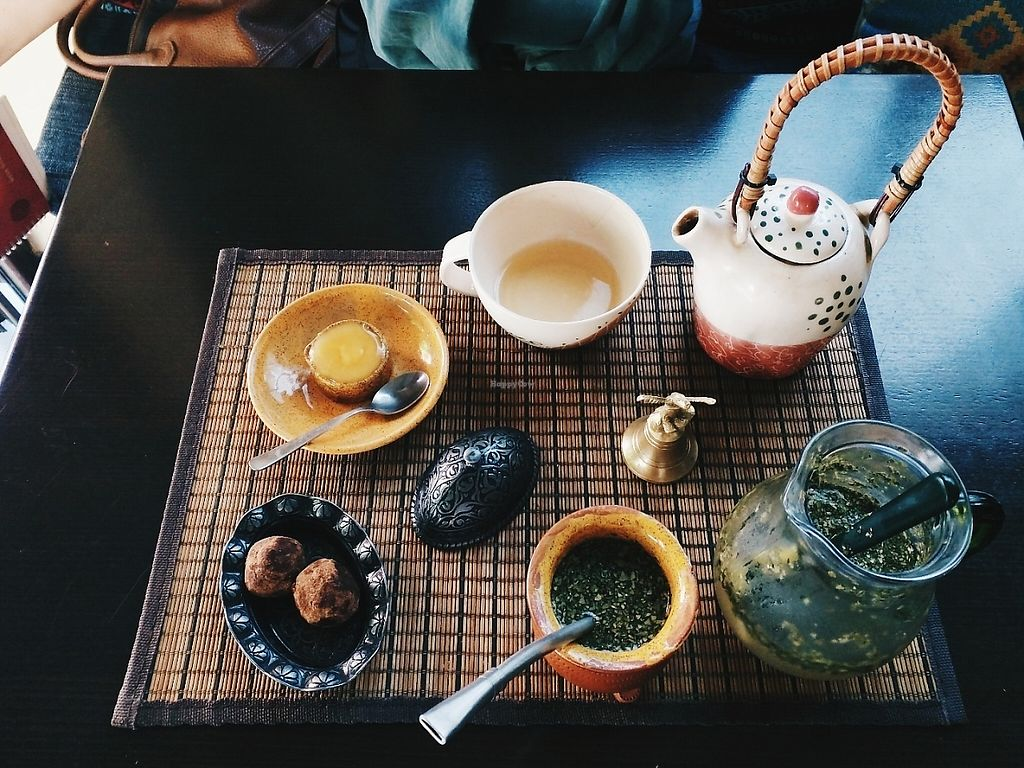 "Photo of Veda House - Sofia  by <a href=""/members/profile/EmilyMusial"">EmilyMusial</a> <br/>Pictured is a dosha balancing tea & the citrus terreré (in a calabash with a bombilla) with the vegan truffles <br/> June 4, 2017  - <a href='/contact/abuse/image/24759/265705'>Report</a>"