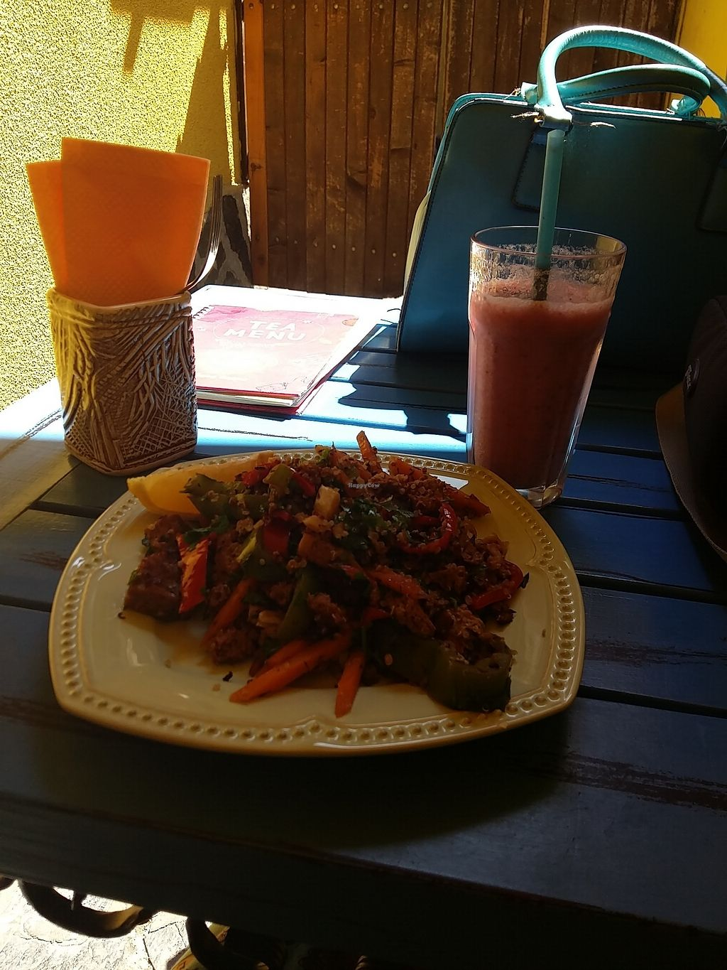 "Photo of Veda House - Sofia  by <a href=""/members/profile/ninaframbuesa"">ninaframbuesa</a> <br/>Saitan with quinoa and veggies. Smoothie <br/> August 16, 2017  - <a href='/contact/abuse/image/24759/293352'>Report</a>"