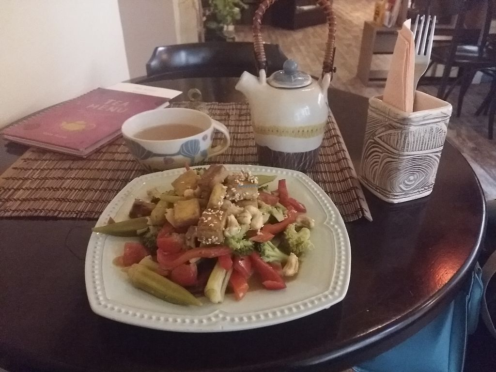 "Photo of Veda House - Sofia  by <a href=""/members/profile/ninaframbuesa"">ninaframbuesa</a> <br/>Tofu and veggies. Ayurvedic tea <br/> August 16, 2017  - <a href='/contact/abuse/image/24759/293354'>Report</a>"