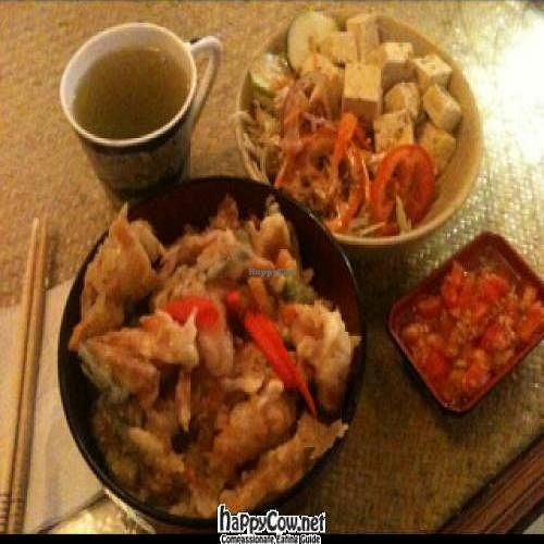 "Photo of Lung Ta  by <a href=""/members/profile/xraysez"">xraysez</a> <br/>tofu salad, green tea and tempura veg over rice with sauce <br/> July 2, 2012  - <a href='/contact/abuse/image/24832/34049'>Report</a>"
