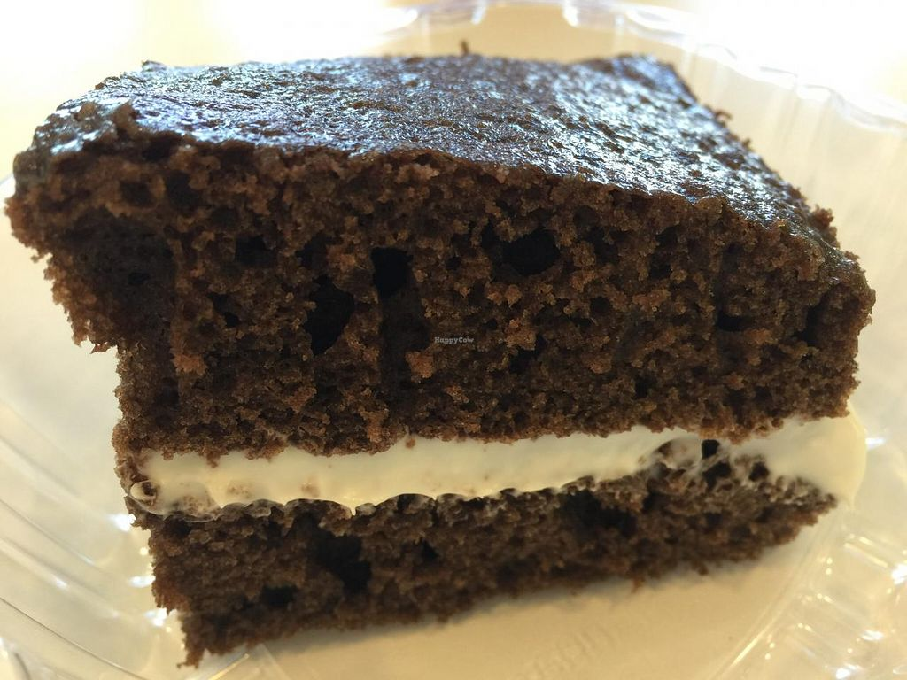 """Photo of Loving Hut  by <a href=""""/members/profile/Tata"""">Tata</a> <br/>Chocolate cake with frosting. Not too sweet, light and fluffy <br/> January 14, 2015  - <a href='/contact/abuse/image/24851/90373'>Report</a>"""