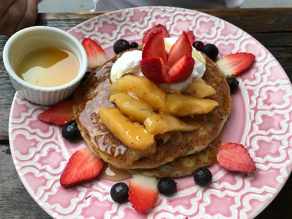 "Photo of Heart and Soul Organic Chai Cafe  by <a href=""/members/profile/%E2%9D%A4%EF%B8%8Fallanimals"">❤️allanimals</a> <br/>Delicious vegan pancakes ✌️ <br/> October 14, 2017  - <a href='/contact/abuse/image/24897/314937'>Report</a>"