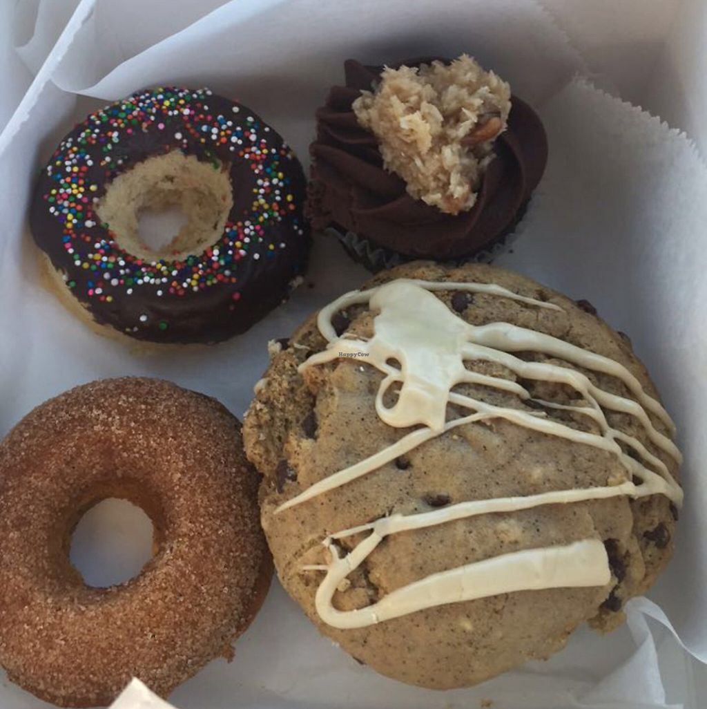 "Photo of Mud Pie Vegan Bakery and Coffee  by <a href=""/members/profile/DaniJones"">DaniJones</a> <br/>Chocolate donut, pumpkin donut, Espresso Muffin, German chocolate cupcake <br/> May 28, 2017  - <a href='/contact/abuse/image/24918/263231'>Report</a>"