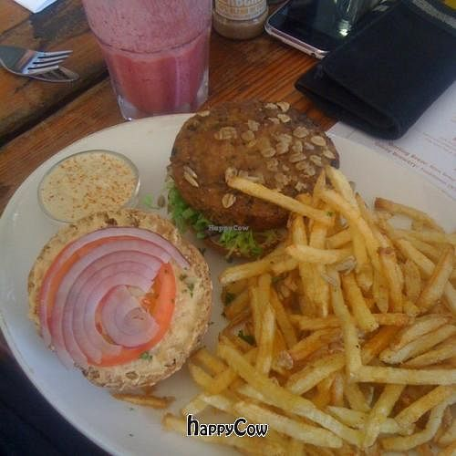 "Photo of Fresh Earth Food Store  by <a href=""/members/profile/pistol_pete"">pistol_pete</a> <br/>Vegan Cheese Burger, and Berry Delicious smoothie <br/> January 2, 2013  - <a href='/contact/abuse/image/24929/42188'>Report</a>"