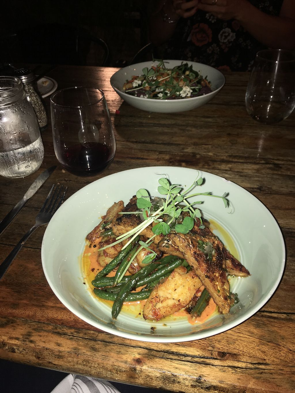 """Photo of The Floridian  by <a href=""""/members/profile/KatieWhite"""">KatieWhite</a> <br/>tempeh with a tomato red pepper type sauce and green beans and fingerling potatoes  <br/> November 7, 2017  - <a href='/contact/abuse/image/24977/322800'>Report</a>"""