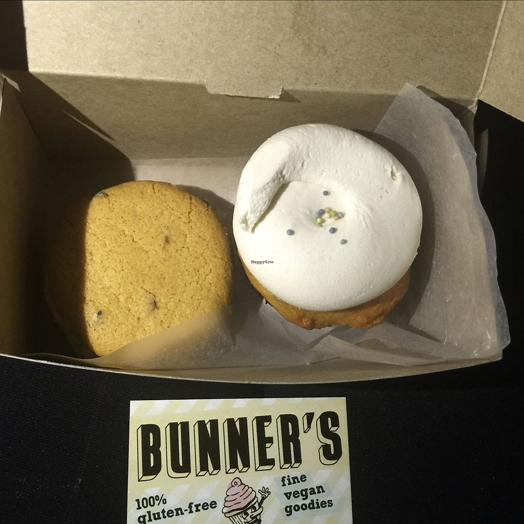"""Photo of Bunner's Bake Shop - Junction  by <a href=""""/members/profile/CKotiadis"""">CKotiadis</a> <br/>Vanilla Cupcake and Cookie Woopie Pie! All Vegan and Gluten free. OH-MY-GOSH! This was the best dessert (Nevermind being vegan and GF) me and my mom have ever had! Service was friendly and great and the prices weren't any more expensive than a normal bakery. Will be back with everyone I know. thank you!  <br/> December 10, 2015  - <a href='/contact/abuse/image/24980/205622'>Report</a>"""