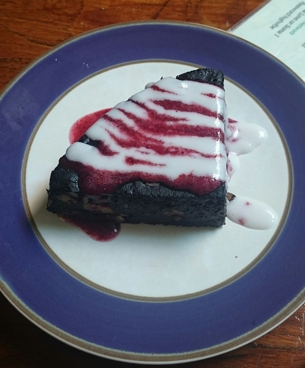 """Photo of Soma Cafe  by <a href=""""/members/profile/Cynthia1998"""">Cynthia1998</a> <br/>Vegan brownie with raspberry sauce and coconut cream <br/> January 31, 2017  - <a href='/contact/abuse/image/24983/220194'>Report</a>"""