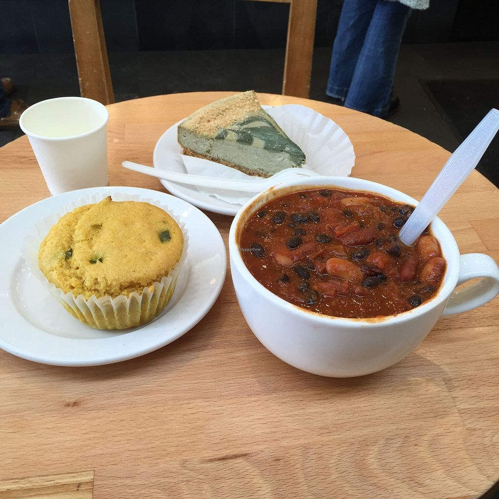 "Photo of Wildflour Vegan Bakery and Juice Bar  by <a href=""/members/profile/stbenjam"">stbenjam</a> <br/>Tofu cheesecake, cornbread, and bean chili