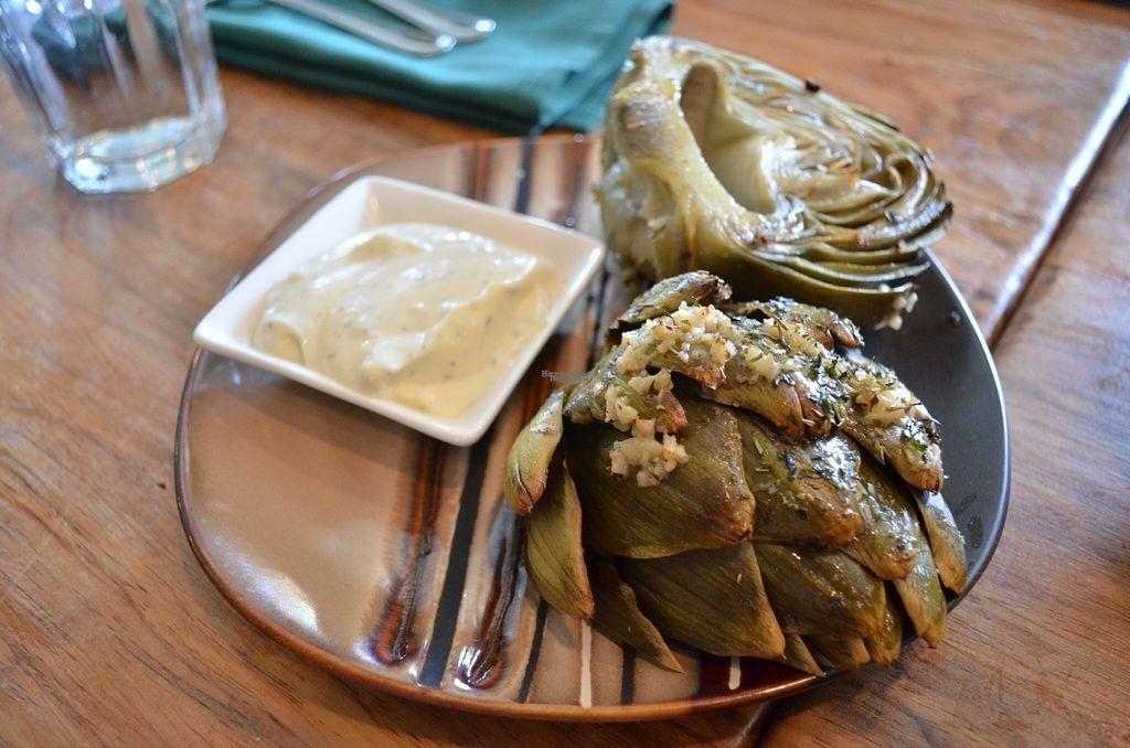 "Photo of Julia's Vegetarian Cuisine  by <a href=""/members/profile/alexandra_vegan"">alexandra_vegan</a> <br/>super delicious Roasted Artichoke  - Roasted globe artichoke served with a vegan garlic & lemon aioli <br/> October 2, 2016  - <a href='/contact/abuse/image/25070/179320'>Report</a>"