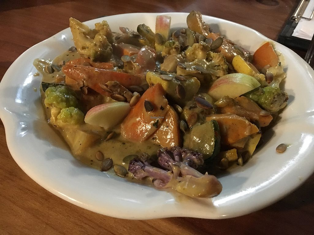 """Photo of Julia's Vegetarian Cuisine  by <a href=""""/members/profile/KWdaddio"""">KWdaddio</a> <br/>Coconut Yellow Curry Dish <br/> December 19, 2017  - <a href='/contact/abuse/image/25070/337088'>Report</a>"""