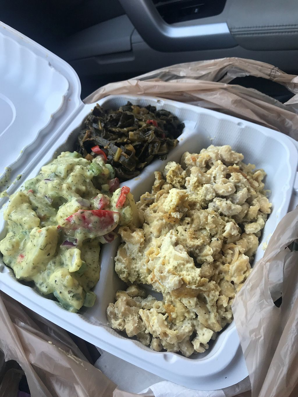 """Photo of The Land of Kush  by <a href=""""/members/profile/alysescotti"""">alysescotti</a> <br/>Mac & Cheese - Collard Greens - Potato Salad  <br/> April 16, 2018  - <a href='/contact/abuse/image/25073/386596'>Report</a>"""