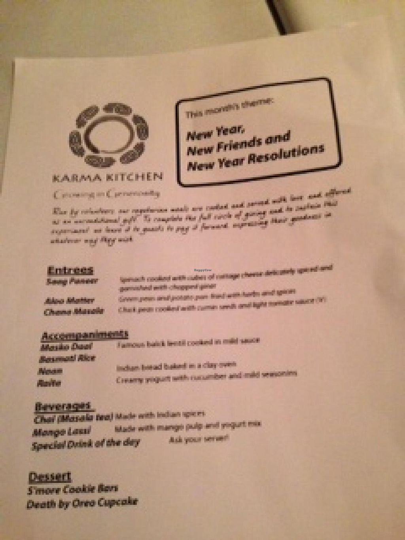 "Photo of Karma Kitchen  by <a href=""/members/profile/geobrad7"">geobrad7</a> <br/>January 2014 Menu <br/> January 26, 2014  - <a href='/contact/abuse/image/25109/63166'>Report</a>"