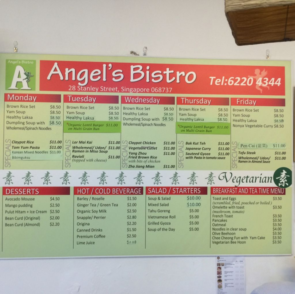 """Photo of CLOSED: Angel's Bistro  by <a href=""""/members/profile/Pascal_HK"""">Pascal_HK</a> <br/>week menu <br/> August 19, 2015  - <a href='/contact/abuse/image/25165/114369'>Report</a>"""