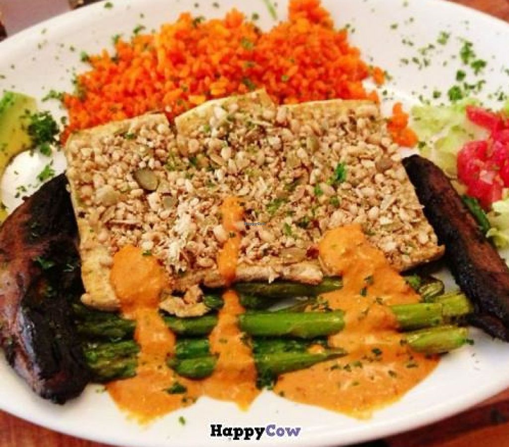 """Photo of CLOSED: The Lost and Found Saloon  by <a href=""""/members/profile/ohemgee"""">ohemgee</a> <br/>Tofu with pesto sauce, veggies, saffron rice, mushrooms and other yummies! <br/> September 25, 2013  - <a href='/contact/abuse/image/25363/196680'>Report</a>"""