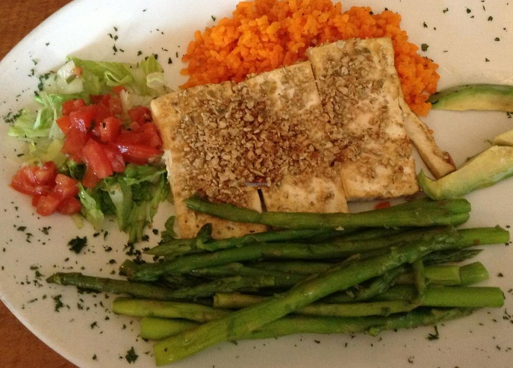 """Photo of CLOSED: The Lost and Found Saloon  by <a href=""""/members/profile/Julie%20R"""">Julie R</a> <br/>YUM!  Tofu seared with pinon nuts and pepita seeds. Served with saffron rice, fresh avocado, and baby asparagus.  (I had them leave off the marinated grilled portabello mushrooms and roasted red pepper pesto.) <br/> January 25, 2014  - <a href='/contact/abuse/image/25363/196681'>Report</a>"""