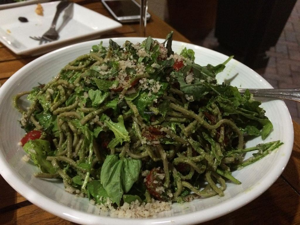 """Photo of Christopher's Kitchen  by <a href=""""/members/profile/kmilitello"""">kmilitello</a> <br/>Pesto soba noodles with lots of basil, arugula, sun dried tomatoes, and fresh tomatoes <br/> April 5, 2015  - <a href='/contact/abuse/image/25365/97896'>Report</a>"""