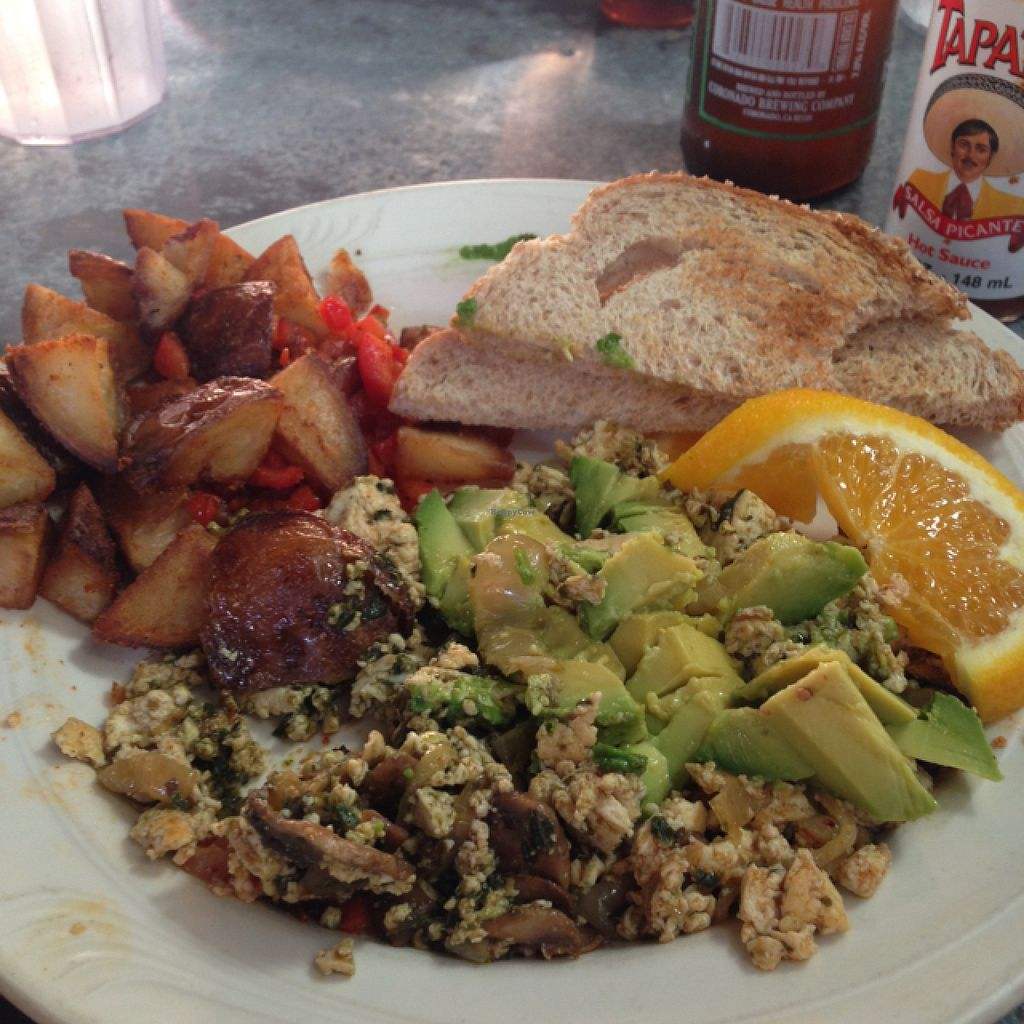 """Photo of Downbeat Diner and Lounge  by <a href=""""/members/profile/Ruhnayleslie"""">Ruhnayleslie</a> <br/>pesto tofu scramble with avocado and home fries! <br/> August 7, 2015  - <a href='/contact/abuse/image/25374/112640'>Report</a>"""
