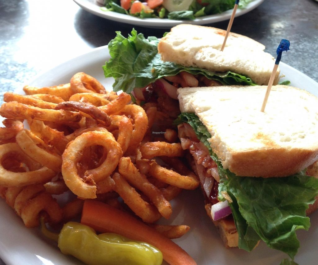 """Photo of Downbeat Diner and Lounge  by <a href=""""/members/profile/AliciaPiccolina"""">AliciaPiccolina</a> <br/>vegan BBQ 'chicken' sandwich with curly fries (front), and vegan Buffalo 'chicken' sandwich with side salad and vegan thousand island dressing <br/> March 30, 2016  - <a href='/contact/abuse/image/25374/199241'>Report</a>"""