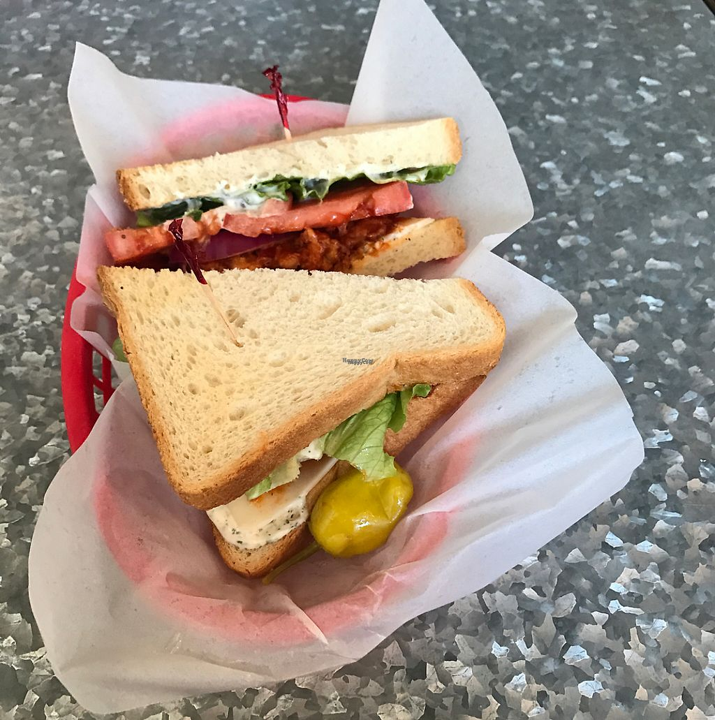 """Photo of Downbeat Diner and Lounge  by <a href=""""/members/profile/vegetariangirl"""">vegetariangirl</a> <br/>vegan BBQ chikin sandwich  <br/> March 5, 2017  - <a href='/contact/abuse/image/25374/233207'>Report</a>"""
