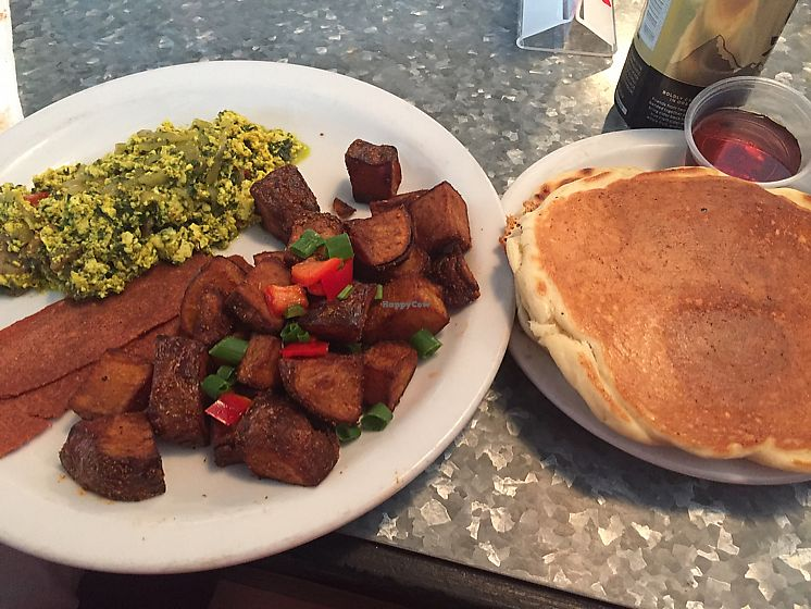 """Photo of Downbeat Diner and Lounge  by <a href=""""/members/profile/VeggieHeather"""">VeggieHeather</a> <br/>pesto tofu scramble, vegan bacon, home fries, and pancakes - all for $10! <br/> June 21, 2017  - <a href='/contact/abuse/image/25374/271622'>Report</a>"""