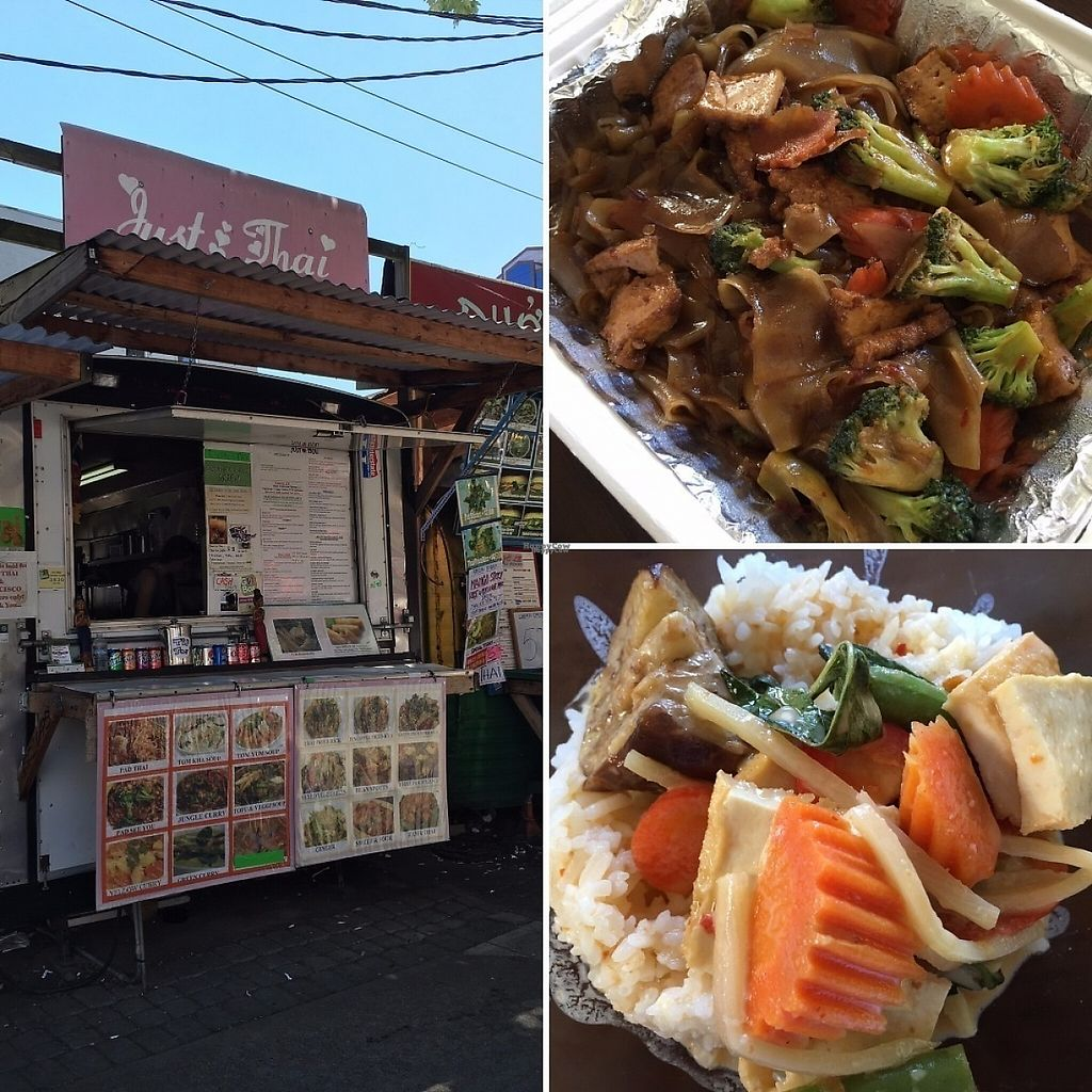 """Photo of Just Thai - Food Cart  by <a href=""""/members/profile/quietdictionary"""">quietdictionary</a> <br/>Just Thai food cart: view of the cart, the pad see ew (upper right), and the red curry (lower right) <br/> December 21, 2016  - <a href='/contact/abuse/image/25391/203798'>Report</a>"""