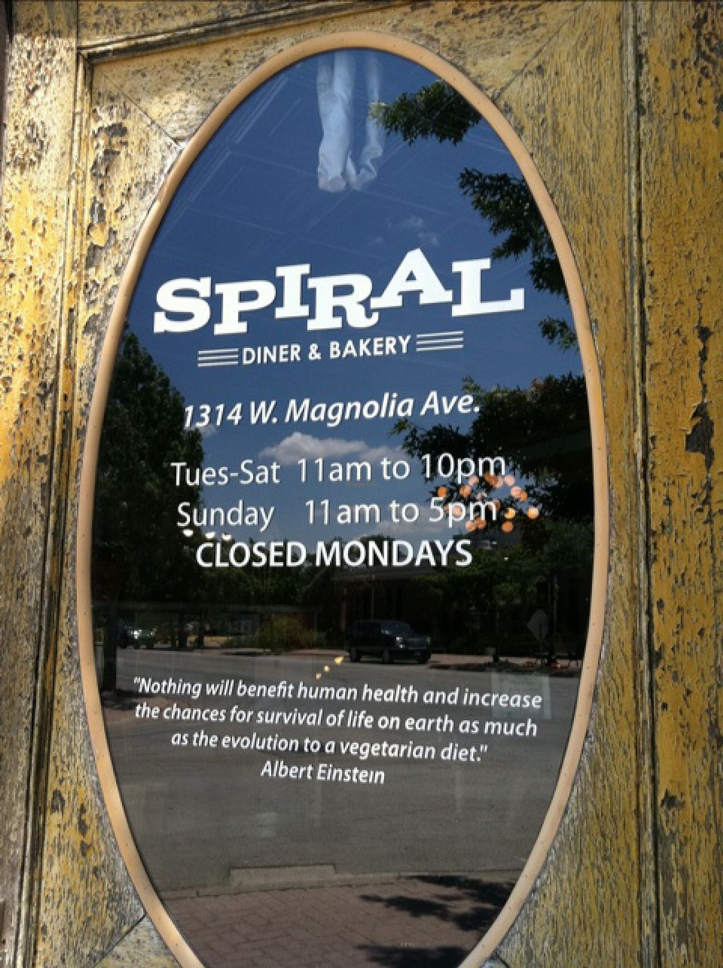 "Photo of Spiral Diner & Bakery  by <a href=""/members/profile/veganlove777"">veganlove777</a> <br/>Outside door of the Spiral Diner <br/> November 27, 2015  - <a href='/contact/abuse/image/2539/126293'>Report</a>"