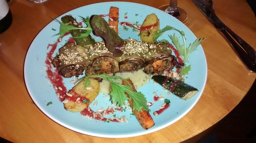 "Photo of Les Amants du Marche  by <a href=""/members/profile/JonJon"">JonJon</a> <br/>Rolled eggplant with green lentils, sweet potatoes, olives, baked with coconut sauce chard, parsnip puree with 'bear' garlic and roasted vegetables with balsamic <br/> November 24, 2014  - <a href='/contact/abuse/image/25413/86357'>Report</a>"