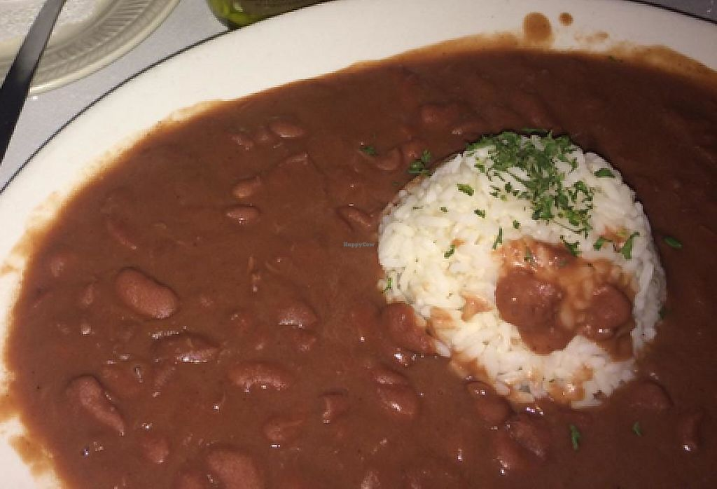 """Photo of Praline Connection  by <a href=""""/members/profile/PebblesK9"""">PebblesK9</a> <br/>Red Beans and Rice, Greens, and Gumbo (vegan) <br/> April 1, 2015  - <a href='/contact/abuse/image/25437/201157'>Report</a>"""